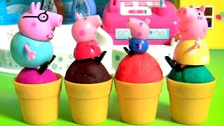 Homemade Play Doh Ice Cream Peppa Pig from Disney Frozen Elsa Ice Cream Factory Play-Doh Food Toys