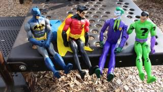 Batman Robin Riddler And Joker Race The Playground And Swing On The Swings At Park