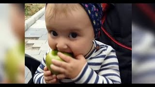 Cute Baby Trying To eat big apple