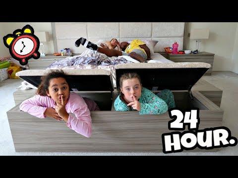 I SPENT THE NIGHT IN MY PARENTS BEDROOM 24 Hour Challenge