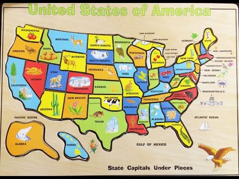 watch Fun Solving the United States Map Wood Puzzle | Melissa & Doug USA Map Puzzle