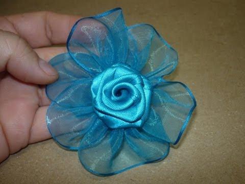Tutorial paso a paso Flor Elegante cinta organza para el cabello 149 Manualidadeslahormiga