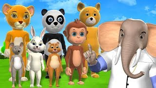 Five Little Animals Jumping on the Bed - 3D Nursery Rhymes & Songs For Children