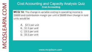 Cost Analysis Capacity Analysis - MCQsLearn Free Videos