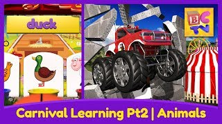 Farm Animals for Kids Pt 2 - Learn the Names and Sounds with Monster Trucks & a Carnival Game