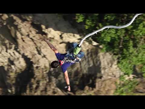 Rajib 's First Bungy jumping experience. The Last Resort, Nepal (Bhote Koshi River). [Musical]