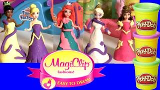 6 Princesas Disney com Vestidos Magiclip Play Doh Sparkle com Brilho Glitter ToysBR