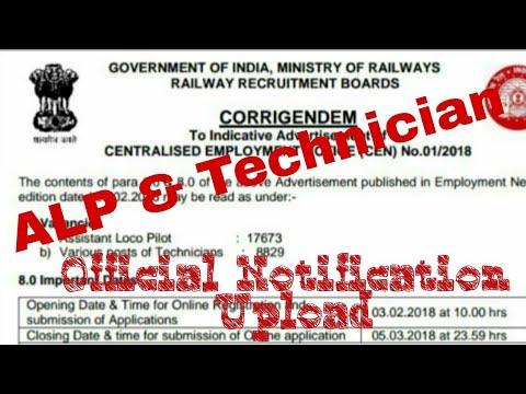 Railway Recruitment 2018 Assistant Loco Pilot and Technician Notification Upload. Basic Details..