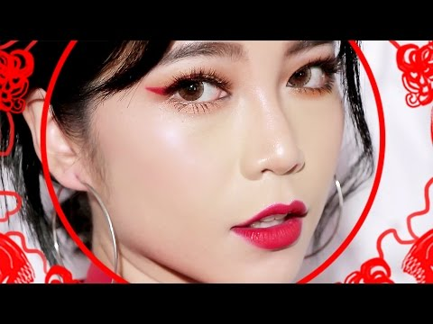 watch FUN RED MAKEUP l LUNAR CHINESE NEW YEAR MAKEUP LOOK
