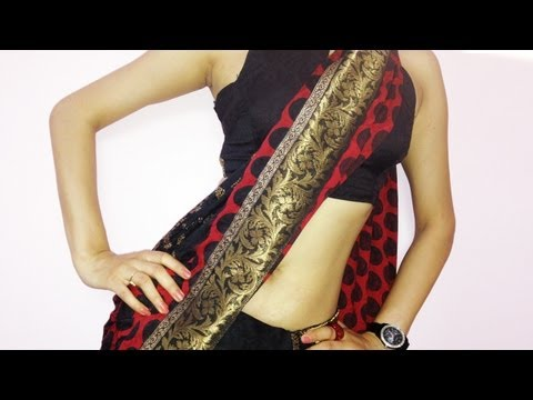 How To Wear Saree To Look Slim & Sexy-How To Drape Indian Designer Saree Blouse 2016