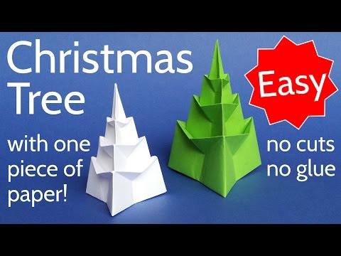 Make an Easy 3D Origami Christmas Tree with 1 Piece of Paper!