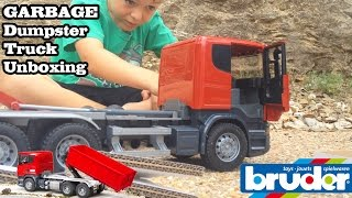 GARBAGE TRUCK Videos For Children l BRUDER SCANIA-R-Series Tipping DUMPSTER Truck Unboxing