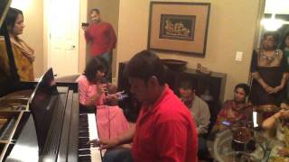 Mithu singing with Bikram Ghosh playing the piano