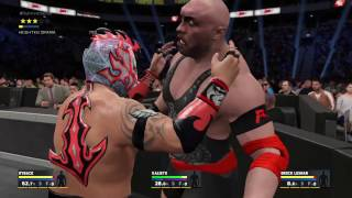 WWE 2K17 Kalisto VS Ryback VS Brock Lesnar In A Triple Threat Match