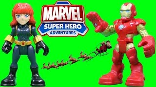 Marvel Super Hero Adventures Iron Man & Black Widow have a Super Hero Christmas Party!