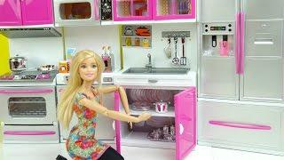 مطبخ باربي الجديد ألعاب بنات جولة في المطبخ Barbie kitchen Toy doll play set