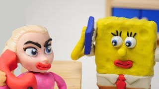 Baby SpongeBob Wrong Number In Real Superhero Baby Life Toy Play Doh Stop Motion Video