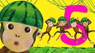 Five Little Monkeys Jumping on the Bed - Children Songs, Nursery Rhymes, Kids Songs