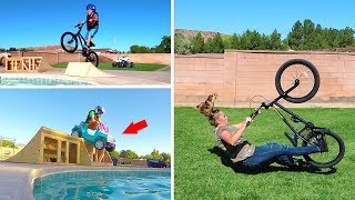 Jumping Power Wheels Ride On Baby Cars into Backyard Swimming Pool Goes Bad!!