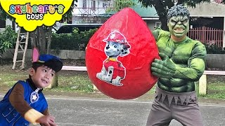 HULK STEALS Paw Patrol Marshall Giant Surprise Egg - Chase Zoomer Everest Paw Patrol toys for kids