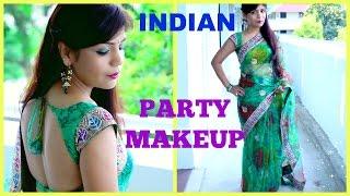 How To Do Indian Party Makeup | Smokey Green Gold Eye Makeup | Saree Outfit | SuperPrincessjo