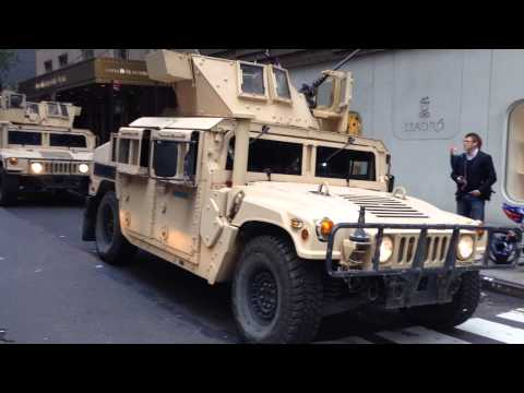 watch UNITED STATES ARMED FORCES CONVOY LEAVING AFTER PARTICIPATING IN VETERANS DAY PARADE IN MANHATTAN.