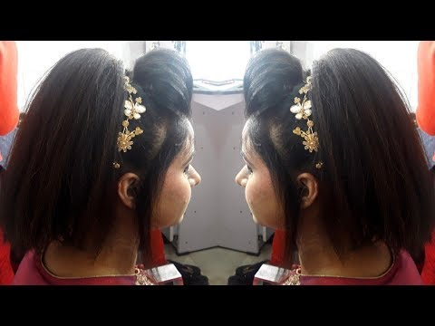 Xxx Mp4 DIY High Pony Tale Party Hairstyle With Front Puff Hairstyle For Medium Hairs 3gp Sex