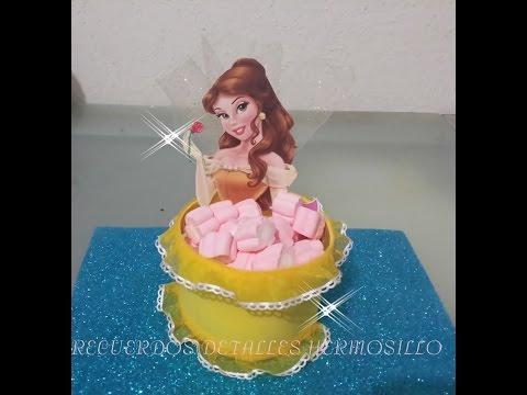 DIY Como Hacer dulcera princesa bella para mesa de dulces