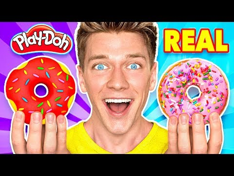 Making Food out of Play Doh Learn How To Make Diy Edible Candy vs Real Squishy Food Challenge