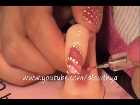 Lineas y corazones tutorial de uñas Hearts and stripes nail tutorial