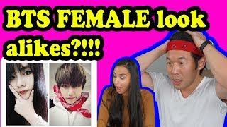 SHOCKING BTS FEMALE LOOK ALIKES REACTION!!!
