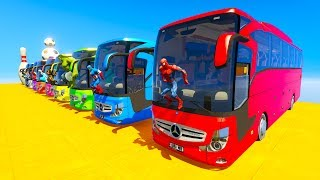 LEARN COLOR giant BUS jump cartoon for kids and babies 3D animation