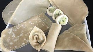 Make 4 different snacks using one pastry samosa rolls,pinwheels samosa,wonton,samosa