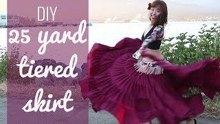 DIY 25 yard skirt - Easy! Gypsy/ATS/belly dancing tiered skirt