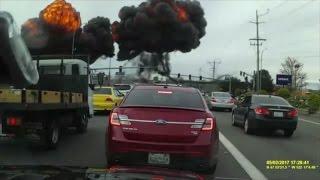 Caught on Camera: Fiery Plane Crash on Busy Street