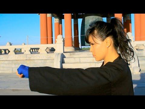 Asian Girl Karate Practice