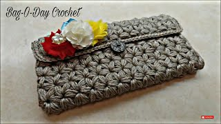 Download CROCHET How To #Crochet Puffed Star Stitch Clutch Wallet Purse #TUTORIAL #304 3Gp Mp4