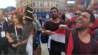 شاهد ما فعله الفنانين المصريين في روسيا اثناء تشجيعهم للمنتخب المصري
