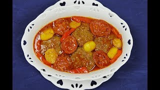 طرز تهیه کباب ماهیتابه ای اصیل با سس گوجه | Kabab Mahytabe | Persian Juicy Kebab Recipe - Eng Subs