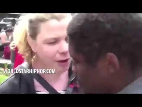 Black guy SLAMS white trash talker the fuck down