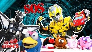 BUMBLEBEE SIDESWIPE and KIKORIKI Friendly race Superheroes in real life #Transformers Video for kids