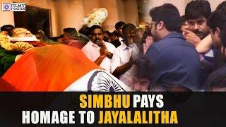 Simbhu  Pays  Homage To Jayalalitha At Last Rites in Rajaji Hall || Tamil Focus