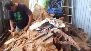 Furniture Ukir Gresik Murah Relief 3D Meja Akar Jati