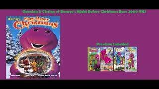 Barney's Night Before Christmas Rare 2000 VHS Opening & Closing