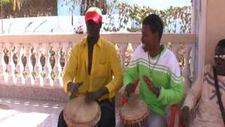 the Gambia Kololi: Baobab beach -  Baba and friends are playing the djembe