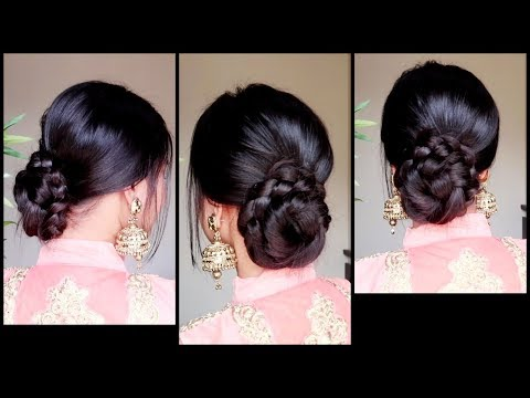 Xxx Mp4 Quick Easy Braided Bun Hairstyle For Parties Indian Wedding Guest Hairstyle For Medium To Long Hair 3gp Sex