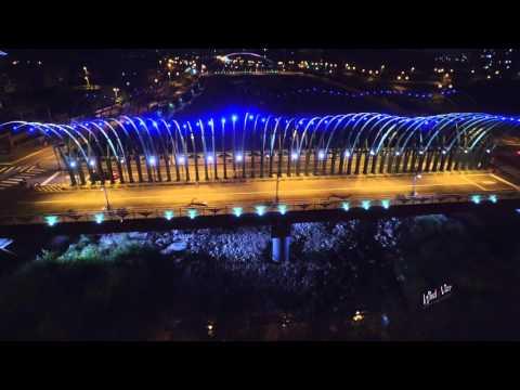 空拍 - 台中 - 夜拍大坑三橋 - 藍天白雲橋 - 蝴蝶橋、清新橋 - 浪漫情人橋