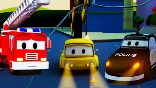 The Car Patrol: fire truck and police car and the the Black-out in Car City | Trucks cartoon