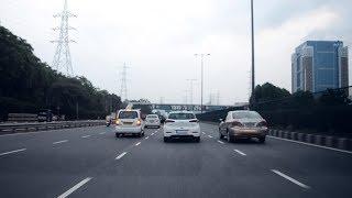 Driving On Delhi-Gurgaon Expressway - India 2017