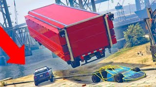 WE LAUNCHED HIM INTO THE WATER! *RAMP CAR TROLLING!*   GTA 5 THUG LIFE #157